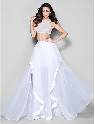 A-line украшение шеи шеи / щеткой поезда органза выпускного вечера вечернее платье с бисером