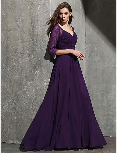 Γραμμή Α Καρδιά Μακρύ Δαντέλα Ζορζέτα Επίσημο Βραδινό Μαύρο γκαλά Φόρεμα με Δαντέλα Χιαστί με TS Couture®
