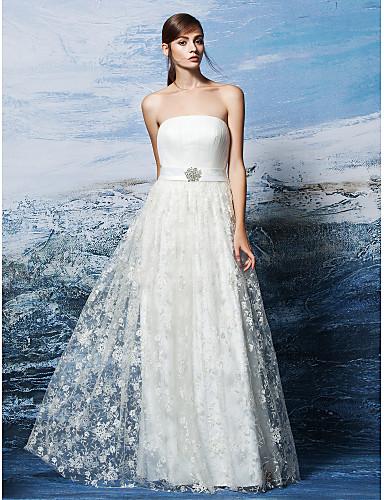 Fourreau / Colonne Robe de mariée Tout Simplement Superbe Longueur Sol Sans Bretelles Dentelle avecBroche florale en Cristal Drapée
