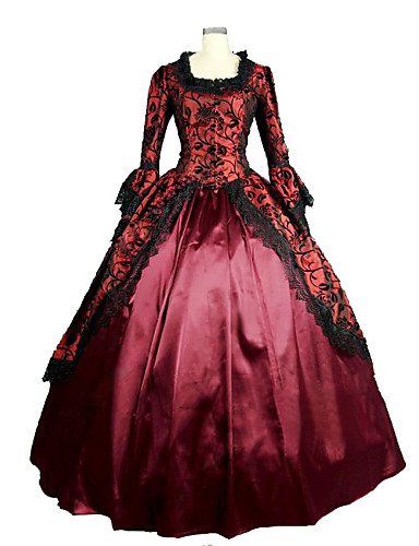 Epoque Médiévale Victorien Costume Femme Robes Bal Masqué Costume de Soirée Fuschia Vintage Cosplay Dentelle Satin Manches Longues Poète