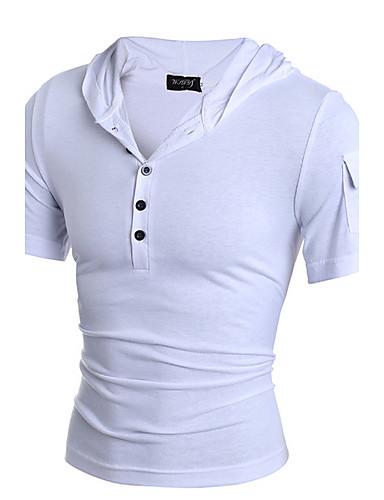 T-shirt-Męskie Sport Codzienne-Kaptur Jendolity kolor-Krótki rękaw Inne
