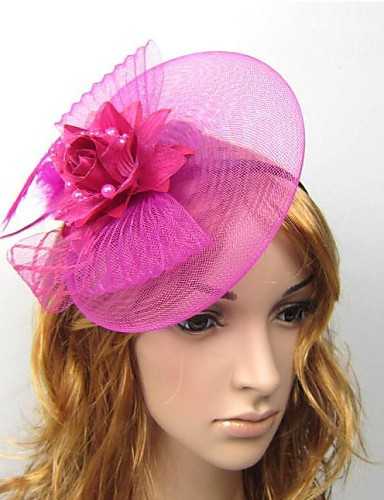 cheap Fascinators-Tulle / Feather Fascinators / Flowers / Hats with 1 Wedding / Special Occasion / Casual Headpiece / Hair Clip