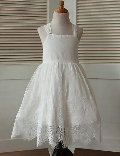 A-ligne thé longueur robe fille fleur - sangles en coton sans manches avec dentelle