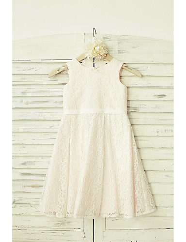 A-Line Knee Length Flower Girl Dress - Lace Sleeveless Scoop Neck with Sash / Ribbon by LAN TING BRIDE®