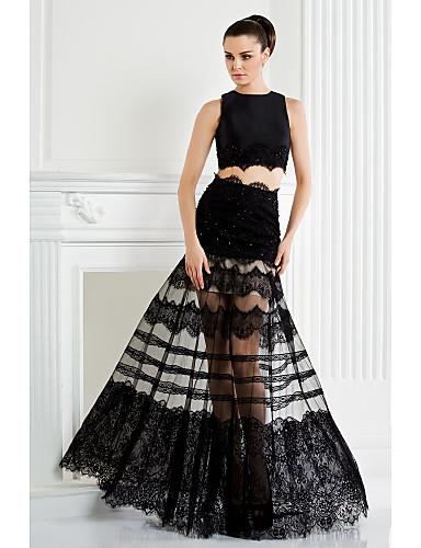 billige Todelte kjoler-A-linje / Todelt Besmykket Gulvlang Blonder / Sateng Kjole med Perlearbeid / Appliqué / Blonder av TS Couture®