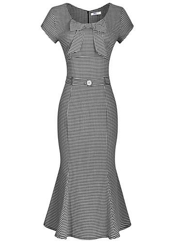 Sellő fazon Ruha Női Egyszerű Vintage Munka,Kockás Kerek Midi Rövid ujjú Pamut Poliészter Tavasz Nyár Ősz Közepes derekú Mikroelasztikus