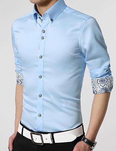 남성용 솔리드 플러스 사이즈 - 셔츠 면