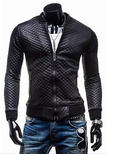 Men's Slim Jacket - Solid Colored, Basic Stand