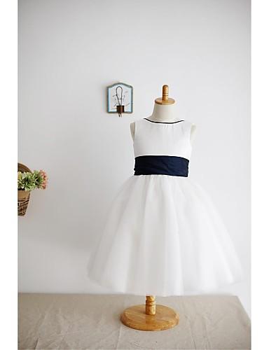 Vestido de menina de flor de joelho com uma linha de joelho - cetim com manga sem mangas de cetim com fita adesiva
