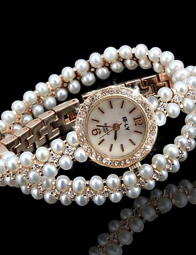 Women's Unique Creative Watch Bracelet Watch Fashion Watch Quartz Imitation Diamond Alloy Band Sparkle Bohemian Pearls Elegant Gold