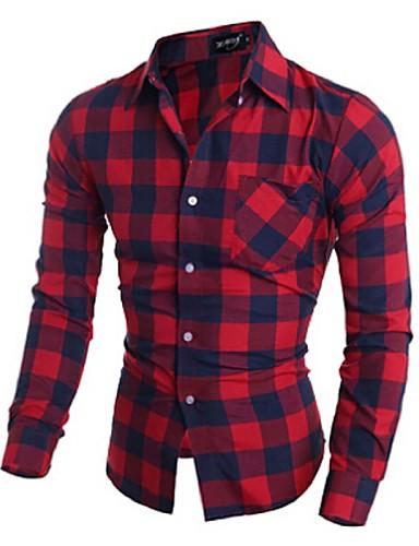 Masculino Camisa Social Casual Trabalho Xadrez Algodão Manga Longa