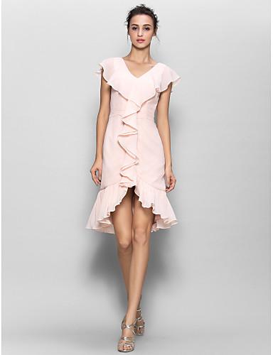 Sheath / Column V-neck Knee Length Chiffon Bridesmaid Dress with Buttons Cascading Ruffles by LAN TING BRIDE®