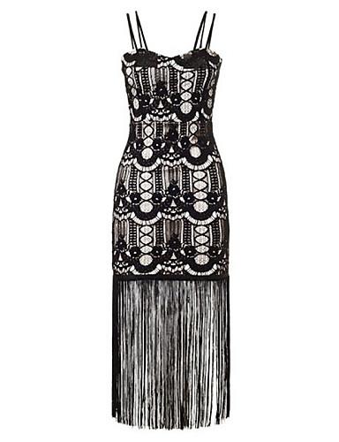 Kadın's Bandaj Elbise - Solid, Dantel Arkasız Püskül