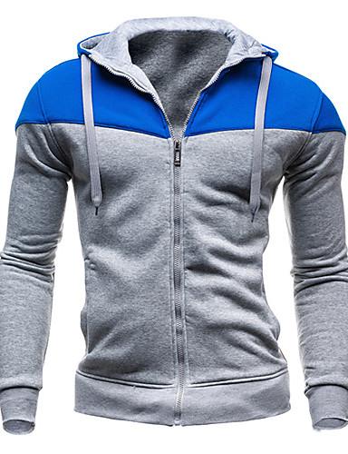 Men's Long Sleeve Hoodie Jacket - Color Block