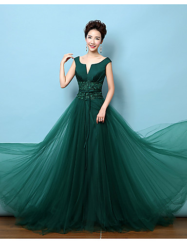 A-Line V-neck Court Train Lace Satin Formal Evening Dress with Bow(s) Lace Sash / Ribbon