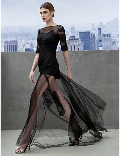 Krój A Bateau Neck Tren w stylu sądowym Tiul Bal Kolacja oficjalna Sukienka z Haft nakładany Fałdki boczne przez TS Couture®