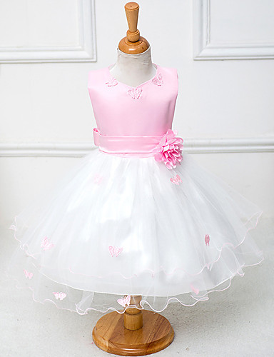 A-Line Knee Length Flower Girl Dress - Cotton / Polyester / Tulle Sleeveless Jewel Neck with Sash / Ribbon / Flower by
