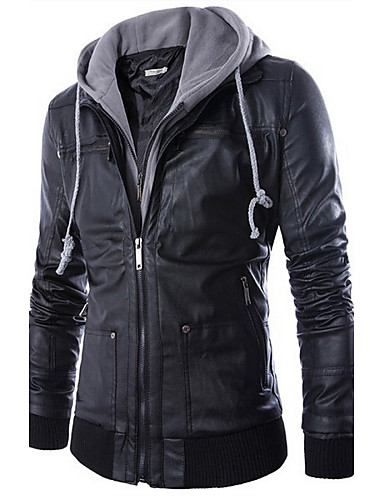 Men's Punk & Gothic Faux Leather Slim Jacket-Solid Colored Hooded