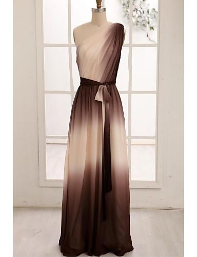 A-Şekilli Tek Omuz Yere Kadar Şifon Kurdeleler Yan Drape ile Balo Resmi Akşam Elbise tarafından TS Couture®