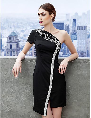 Eng anliegend Ein-Schulter Kurz / Mini Jersey Cocktailparty Kleid mit Applikationen durch TS Couture®