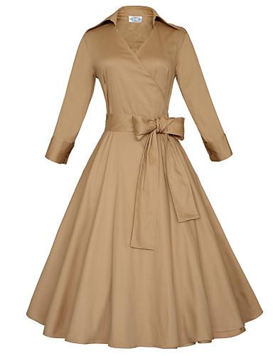 Sukienka Obuwie damskie Rozmiar plus / Vintage / Imprezowa / Do biura / Na co dzień Rozmiar Plus Jendolity kolor MidiGłęboki dekolt w
