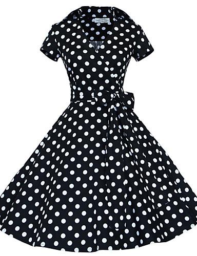 Women's Vintage A Line Dress - Polka Dot Shirt Collar