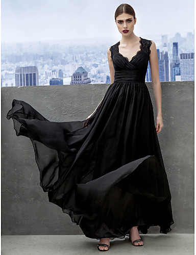 A-Line Sweetheart Neckline Floor Length Chiffon Open Back Cocktail Party / Formal Evening Dress with Lace / Criss Cross by TS Couture®