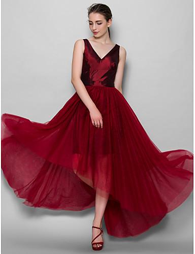 Γραμμή Α Λαιμόκοψη V Ασύμμετρο Ταφτάς Τούλι Φόρεμα Παρανύμφων με Ζώνη / Κορδέλα Πλισέ με LAN TING BRIDE®