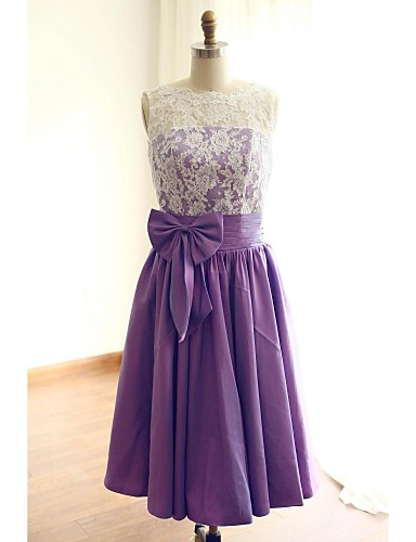 A-Line Jewel Neck Tea Length Taffeta Lace Bodice Bridesmaid Dress with Bow(s) Lace by LAN TING Express