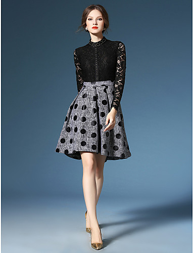 A-Line High Neck Knee Length Polyester Lace Mother of the Bride Dress with Beading Lace Pattern / Print