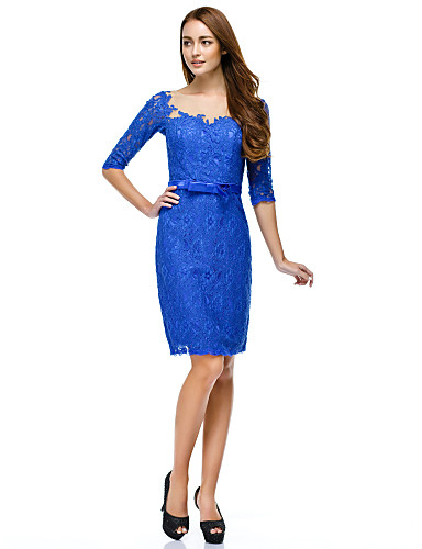 Sheath / Column Illusion Neckline Knee Length Lace Cocktail Party Homecoming Prom Company Party Dress with Buttons Lace by TS Couture®