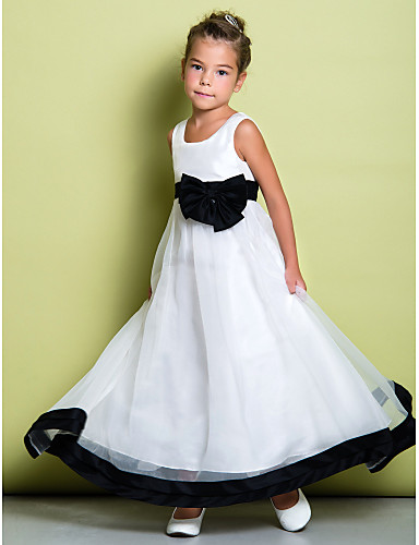 A-Line Ankle Length Flower Girl Dress - Organza Sleeveless Scoop Neck with Bow(s) by LAN TING BRIDE®