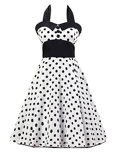 Women's White Black Polka Dot Dress , Black Collars Big Buttons Vintage Halter 50s Rockabilly Swing Dress
