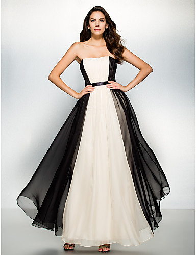 A-Line Strapless Ankle Length Chiffon Formal Evening Dress with Draping by TS Couture®