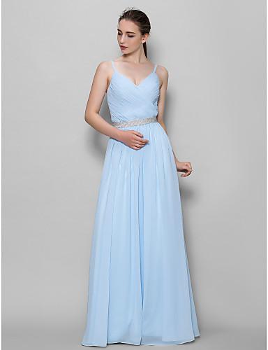 Γραμμή Α Λουριά Μακρύ Σιφόν Φόρεμα Παρανύμφων με Χιαστί με LAN TING BRIDE®