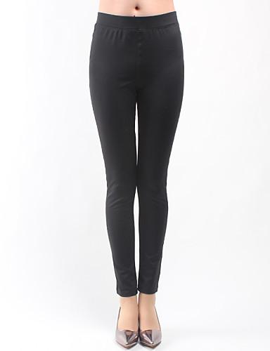 Feminino Cintura Média Elástico Jeans Calças,Skinny Sólido