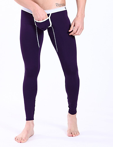 Men's Modal Polyester Super Sexy Long Johns Solid Colored
