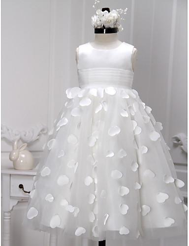 A-Linie Tee-Länge Blumenmädchenkleid - Satin Tüll Ärmellos U-Ausschnitt mit Schärpe / Band Blume durch LAN TING BRIDE®