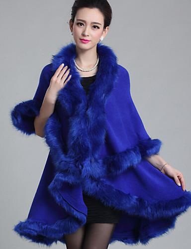 Kadın's Suni Kürk Polyester Tilki Kürkü Şal Yaka Kış Bahar Sonbahar Solid Kırk Yama Günlük/Sade Günlük/Sade Normal Kaban