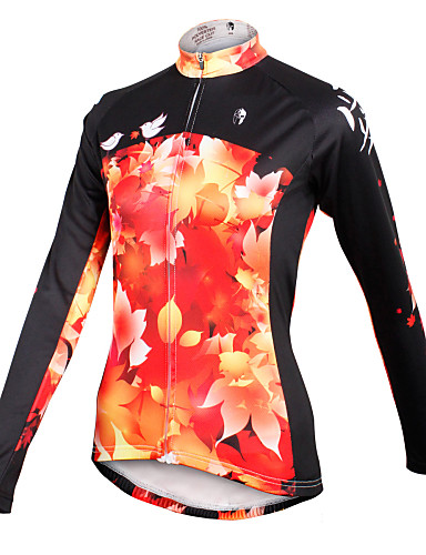 cheap Cycling Clothing-ILPALADINO Women's Long Sleeve Cycling Jersey - Black / Orange Plus Size Bike Jersey Top Breathable Quick Dry Sports 100% Polyester Mountain Bike MTB Road Bike Cycling Clothing Apparel