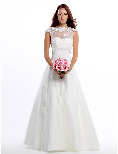 Lanting Bride® Γραμμή Α Νυφικό Δύο-Σε-Ένα Νυφικά Μακρύ Με Κόσμημα Δαντέλα / Τούλι με Δαντέλα / Διακοσμητικά Επιράμματα
