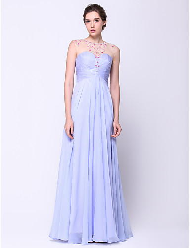 A-Line Illusion Neck Floor Length Chiffon / Tulle Open Back Prom / Formal Evening Dress with Beading by TS Couture®