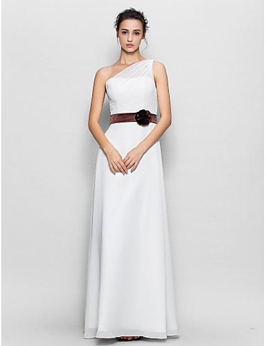 Sheath / Column One Shoulder Floor Length Chiffon Bridesmaid Dress with Flower(s) by LAN TING BRIDE®