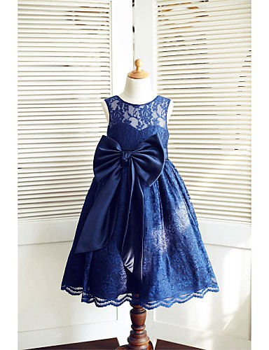 A-Line Tea Length Flower Girl Dress - Lace Satin Sleeveless Jewel Neck with Bow(s) Sash / Ribbon by LAN TING Express
