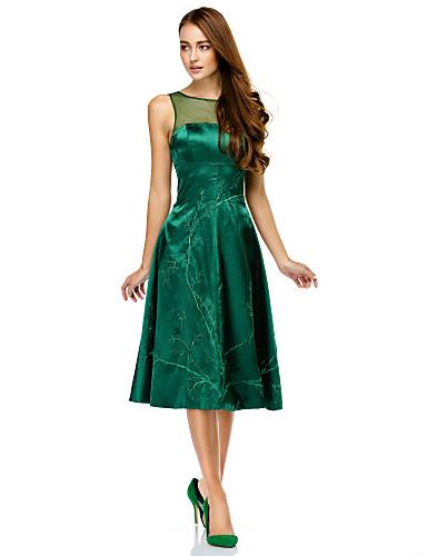 Γραμμή Α Illusion Seckline Μέχρι το γόνατο Σαρμέζ Κοκτέιλ Πάρτι Χοροεσπερίδα Εταιρικό πάρτι Φόρεμα με Σχέδιο / Στάμπα με TS Couture®
