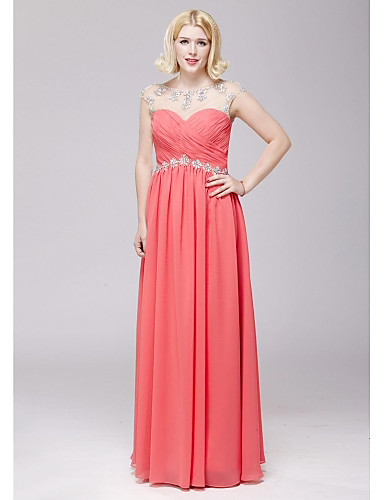 A-Line Scoop Neck Floor Length Chiffon Prom Formal Evening Dress with Beading