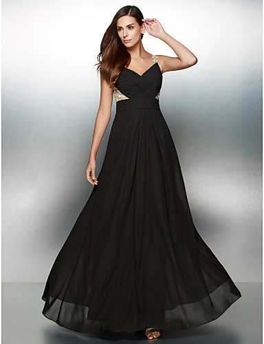 A-Line V-neck Floor Length Chiffon Prom Formal Evening Dress with Appliques Criss Cross by TS Couture®