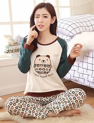 kadın pamuk pijama karton baskı sevimli iki parça pijama setleri