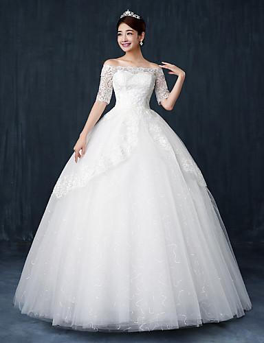 Báli ruha Menyasszonyi ruha Földig érő Csónaknyak Csipke / Szatén / Tüll val vel Kristály / Flitter