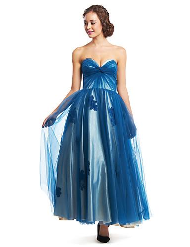 Γραμμή Α Καρδιά Μέχρι τον αστράγαλο Τούλι Χορός Αποφοίτησης Επίσημο Βραδινό Φόρεμα με Χιαστί με TS Couture®